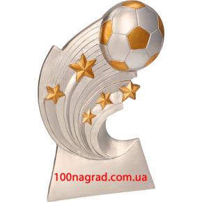 Литая металлизированная статуэтка RP 2014 Футбольный мяч со звездами  Н-14см.